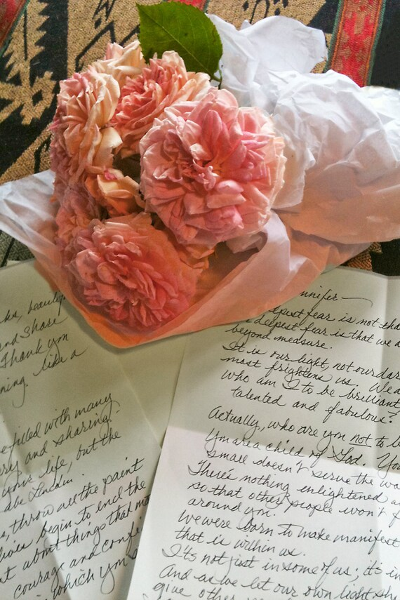 "Pink Roses and a Note (5"" x 7"" photographic greeting card - blank inside/with envelope)"
