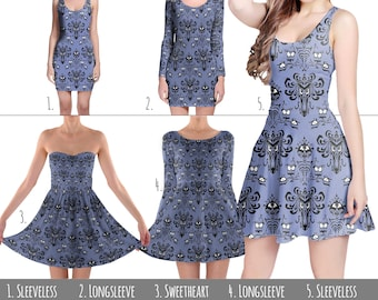 Haunted Mansion Wallpaper - Dress in XS-3XL - Flared, Bodycon, or Skater Style 000751