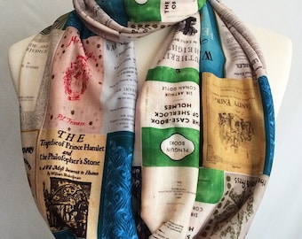 Literary Gifts, Book Print, Book scarf, Literature scarf, Literary Scarf, By Rooby Lane,Book Lovers Gift