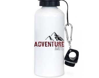 Adventure Awaits Water Bottle, Mountain Water Bottle, Graduation Gift, Retirement Gift, Gift for Him, Gift for Her, Adventure Gift - WB1