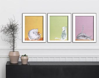 Cat lover gift, Cat original art print, Set of 3 prints, Wall art print,  Gallery wall art, Set of three prints, #534CA #535CA #536CA