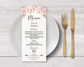Menú de boda para imprimir, cenas a la carta, menú de boda personalizada, recepción, menú Floral, cartel de menú de boda