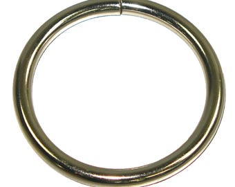 "1-1/2"" (38mm) Welded O-Ring Nickel Plated Leathercraft Hardware 6 Pack - Slim"