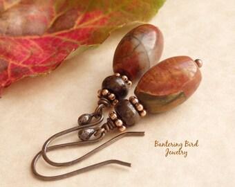 Earthy Brown Natural Stone Earrings, Multi Color Red Creek Jasper, Boho Copper Jewelry