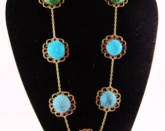 Necklace in felt  wool and brass