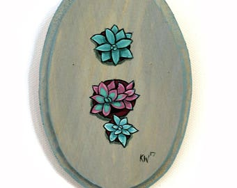 Succulents Painting - Original Wall Art Acrylic Small Painting on Wood by Karen Watkins - Succulents in Pots Miniature Wall Art