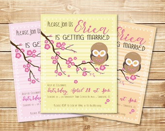 "PRINTED Cherry Blossom 4.25"" x 5.5"" Owl Bridal Shower, Wedding Party Invitation with envelope in either pink, yellow, or orange"
