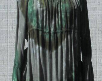 Peasant Top with Tier Sleeves Tie Dye in Greens