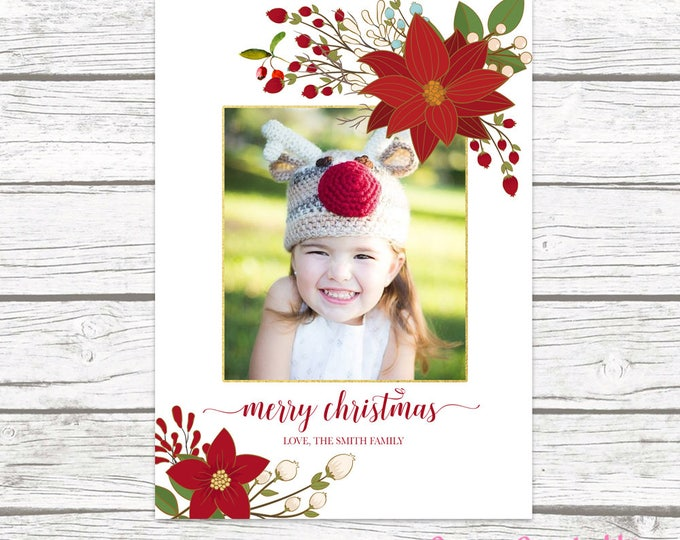 Floral Christmas Photo Card, Christmas Photo Card, Red Christmas Card, Holiday Photo Card, Christmas Picture Card, Holly Christmas Card