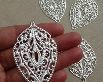 10 pc - Large Boho - Silver-  Antique style filigree stamping lace pendant drop