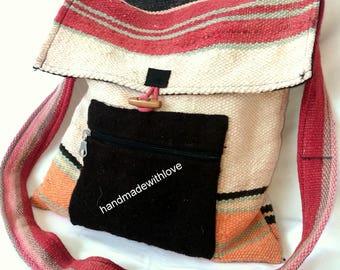 Original woven , Winter Crossbody Bag , Shepherd's bag with flap and front pocket with zipper, Folk Bag ,Hippie Bag ,Hipi bag , Wool Bag
