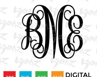 Vine Monogram Interlocking Letters, alphabet font, initials, Cutting file download SVG, EPS, DXF, png, for Silhouette Cameo or Cricut