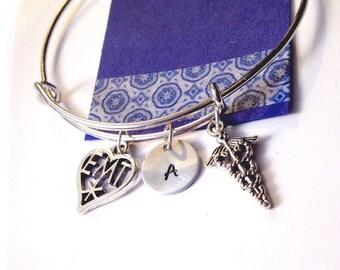 EMT Bracelet, Silver Bangle Bracelet, Emergency Medical Technician, Adjustable bracelet,  Personalized bracelet, EMT Bracelet, EMT Gift, Bra