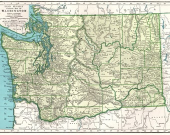 1945 Vintage WASHINGTON Map 1940s State Map of Washington Print Wall Decor Gift for Traveler Map Collector Wedding Anniversary 8551
