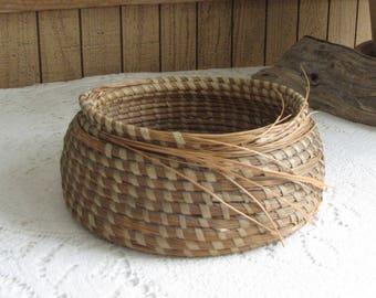 Hand Woven Basket Unfinished Garden Trug Vintage Storage and Gardens Rustic Baskets