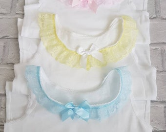 Vest tops with pastel lace 3 for 14