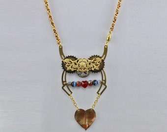 Steampunk Valentine Hearts and Gears Handmade Necklace 18 Inch Necklace by Harry W Wood of Oscarcrow