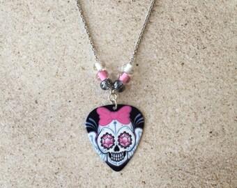 Pinky Sugar Skull guitar pick necklace, super cool funky jewelry, fun accessory, costume jewelry