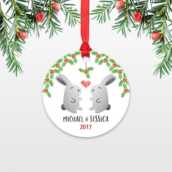 Personalized Christmas Ornament, Bunny Rabbit Couple Engaged Christmas Ornaments, Engagement Ornament, Wedding Ornament Christmas Decoration