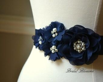 JULIA Navy Chiffon Flower Bridal Sash | Fabric Flowers Wedding Dress Sash | Bridal Belt | Ribbon | Bridesmaids | Dark Blue Pearl Rhinestone