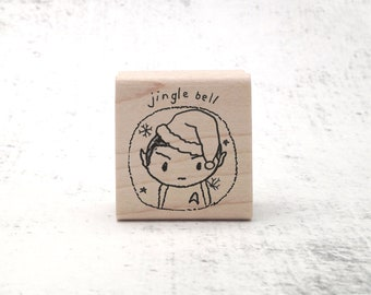 The Jingle Bell Spock Christmas Stamp - Trekkie Pen Pal Humor Holiday Rubber Stamp - LLAP Stationary