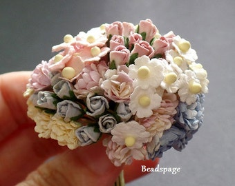 Dollhouse Miniature Flowers - Sweet Pastel Pink Blue Cream White Bouquet Shabby chic, DIY craft Scrapbooking