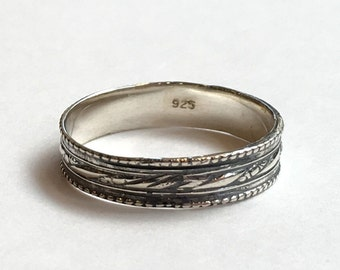 Unisex Wedding ring, stacking ring, boho ring, silver ring, textured ring, hippie ring, unique wedding band, simple - Always mine R2375