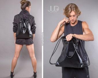 Black drawstring backpack tote convertible handbag- black sack bag SALE women rucksack gym bag women backpack- black travel bag gift for him