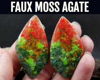 Video tutorial. Gemstone Imitation. How to make Faux Moss Agate gemstone cabochons from Polymer Clay!