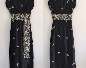 Vintage 60's Black & Gold Hawaiian Maxi Pin-Up Dress M