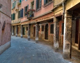 Venice Photograph, Italy Photo Neutral Colors Beige Brown Street Building Wall Art Home Decor Fine Art Print ven6