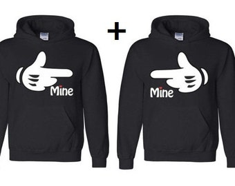 Mine and Mine Hooded Sweatshirts~ Hes Mine Shes Mine Hoodie Sweaters~ Valentines Day Hoodies