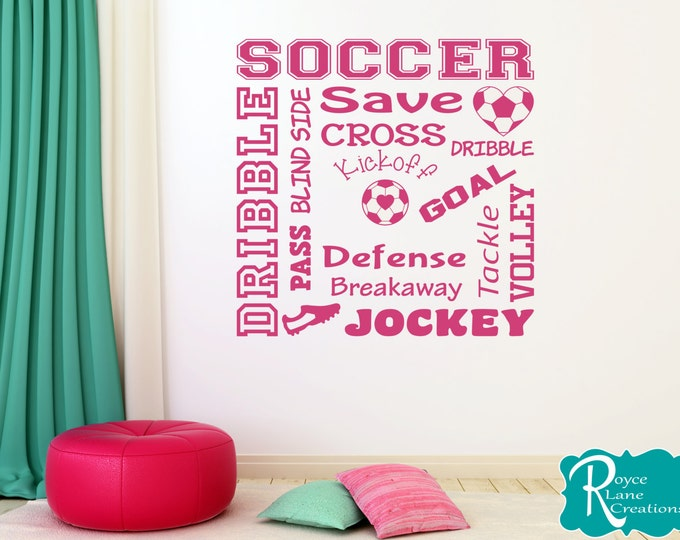 Soccer Word Art 2 Soccer Wall Decal for Girls Room