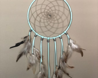 Large Indie Boho Dream Catcher, Lavender, Navy, Gold Beads, Traditional Hand-Weaved Web