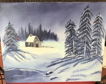 Landscape, Cabin, Snow, Oil Painting, Canvas