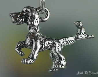 Sterling Silver Bird Dog Charm Funny Cartoon Setter Hunting Solid .925