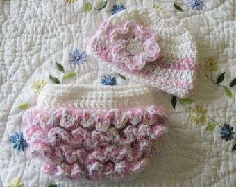 FREE SHIPPING TO U. S. - Crochet  Baby Hat and Ruffled Diaper Cover Size 0 to 3 Months - White & Pink Ruffled Photo Prop Baby Set - Newborn