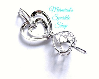 Sterling Heart Pearl Cage Pendant Opening Pearl Cage Heart Locket Cage Pearl Necklace Sterling Heart Jewelry, Pearl & Chain sold separately