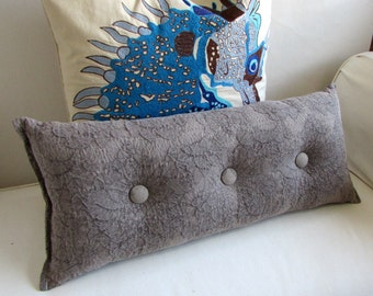 SMOKE ASH accent lumbar throw Bolster Pillow with buttons 11X26