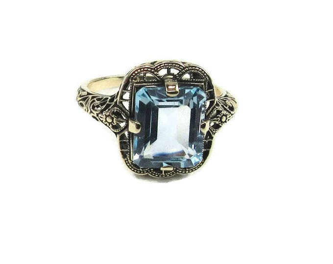 Filigree Blue Topaz Ring, Yellow Gold Filigree Ring, Blue Topaz Ring; Topaz Ring, Topaz Filigree Ring; Emerald Cut Blue Topaz Ring