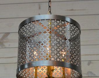 Industrial Meets Modern Chandelier - Steel and Brass Chandelier - Custom Chandelier - Designer Lighting