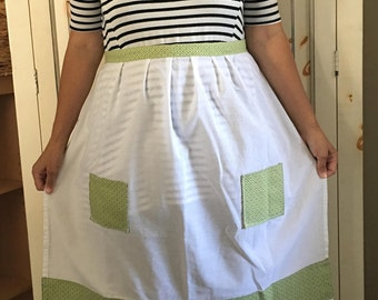 Tea Towel Apron with Green Trim