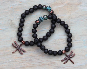 ZenHappy Black Lava Gemstone Stretch Bracelet with Bronze Dragonfly; Aromatherapy Diffuser Bracelet