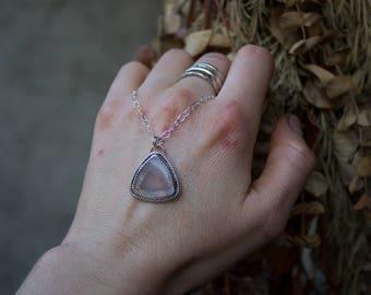 Rose Quartz Necklace, Rose Quartz Pendant, Rose Quartz Silver Necklace, Pink Gemstone Jewelry, Pink Gemstone Necklace, gypsy necklace