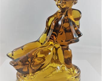 Vintage Amber Statue or Figurine - Girl With Geese - Hummel