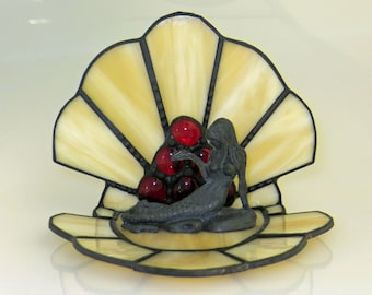 Mermaid Figurine and Stained Glass Shell with Red Nuggets - Made to Order (MER001)
