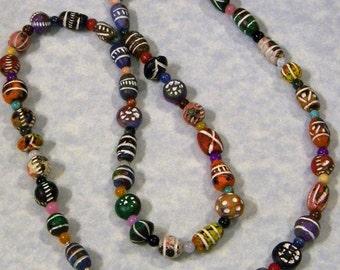 Multicolor Clay Bead and Gemstone Necklace
