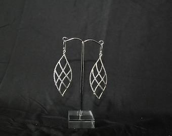 Handcrafted Artisan Earrings, Silver Earrings, Laos Jewelry, Spiral Leaves