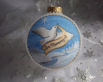 Memorial Ornament, In Memory of,  Hand-Painted, Dove,  A Tribute to a Loved One, 3 1/4 Inch Glass Ornament