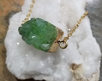 Green wrapped crystal necklace